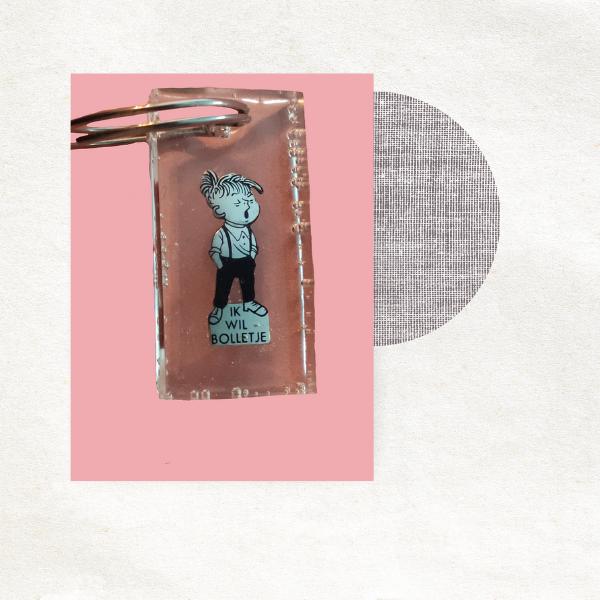 Sleutelhanger met retro bedel - Bolletje - jongen -epic charm