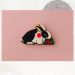 Zwart - wit konijn magneet